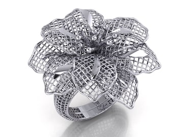925 Sterling Silver, 14k White Gold, Yellow Gold, Rose Gold Flower Blossom Ring