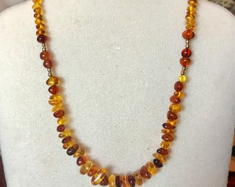 Glowing Genuine Amber Graduated Necklace