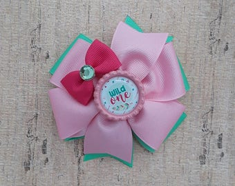 Pink and Mint Wild One Pinwheel Bow