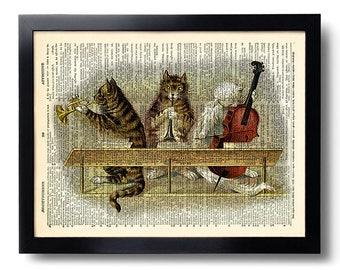 cat bedroom. Cat Cats Music Art Print on Dictionary Page  Artwork Poster artwork Etsy