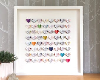 Wedding guest book alternative. Alternative wedding guest book. Multicoloured. 64 hearts - MEDIUM SIZE. Personalised wedding gift