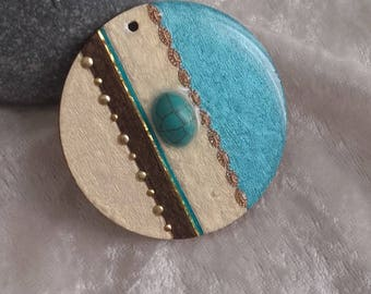 accessory to hang wooden resin gold turquoise iridescent vanilla