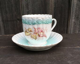 Jumbo oversized Victorian tea cup and saucer 3 cup capacity porcelain