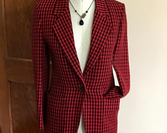 80s Houndstooth Jacket, Christian Dior, Red, Black, Designer, Rare, Blazer, Dress Coat, Womens Vintage Clothing, Size 4, Separates,