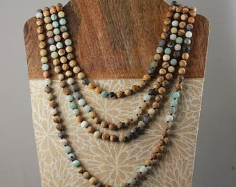 Long Beaded Necklace, Amazonite and Picture Jasper, Gemstone Necklace, Multi-colored Necklace, 60 Inches(Primary picture is 2 necklaces)