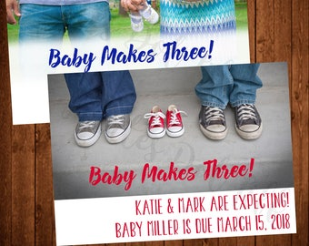 Photo Pregnancy Announcement in your choice of colors! (Printable, Blue, Red, Aqua, Shoes, Belly)