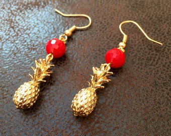 Earrings gold pineapple and Red faceted bead