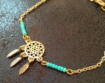Bracelet dream catcher with turquoise glass beads