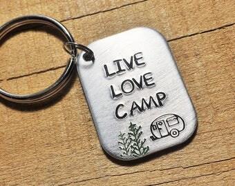 Camper Keychain - Camping Keyring - Gift for Campers - Camper Gift - Camping Gift - Live Love Camp - Camp Keychain - Camper Key Ring