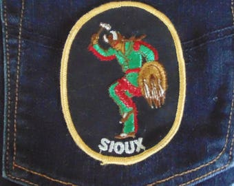 vintage SIOUX  Native American embroidered patch authentic 70's unused