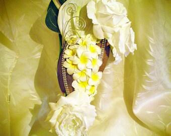 plumeria flowers, anthurium and conquer customize fall bridal bouquet