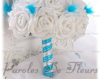 White or ivory bridal bouquet with pearls, feathers blue turquoise to customize