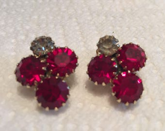 Beautiful red rhinestone clip on earrings prong set red and white crystal rhinestone Classy bling