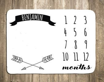 Arrow Baby Milestone Blanket - Baby Month Blanket - Monthy Baby Blanket - Monthly Photo Prop - Baby Shower Gift - Gender Neutral - Black