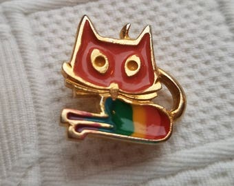 RAINBOW CAT brooch