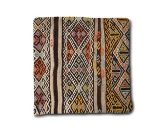 Handwoven kilim pillow cover / Decorative pillows / Bohemian cushion cover / Ethnic pillow cases / Handmade / Vintage / Moroccan / 45x45 / M