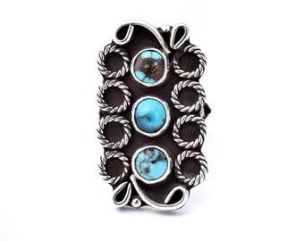 Kingman Turquoise and Sterling Silver Triplet Ring : Size 6.5