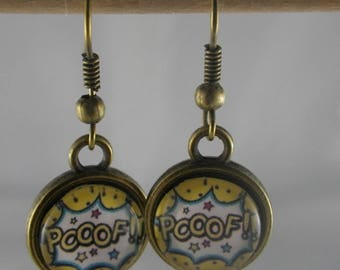 """Boucles110 - Earrings bronze and yellow and blue cabochon """"Pooof"""""""