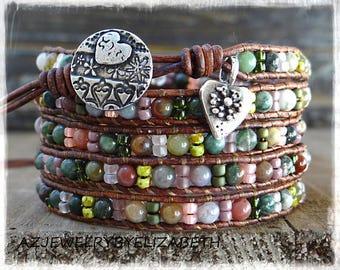 Beaded Wrap Bracelet/ Multi-Color Seed Bead Leather Wrap Bracelet/  Boho Wrap Bracelet/ Gemstone  Bracelet/ Bohemian Bracelet.