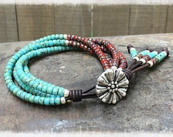 Beaded Wrap Bracelet/ Picasso Seed Bead Leather Wrap Bracelet/ Seed Bead Bracelet/ Beaded Bracelet/ Boho Wrap Bracelet**