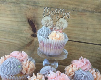 Cup cake toppers. Rockabilly cake topper. Mr and Mrs cake topper-  SET OF 6