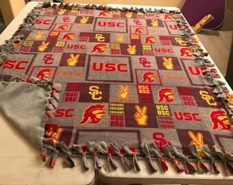 Grey squares USC hand tied fleece blanket