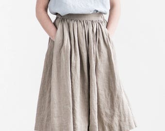 "Linen skirt ""1950s CITY"" with deep pockets / A - line washed linen skirt in natural color / Midi linen skirt / High waist linen skirt"