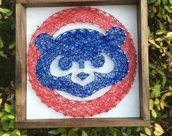 "7""x7"" White Chicago Cubs String Art Man Cave Sports Team Wood Sign Wall Art Home Decor"