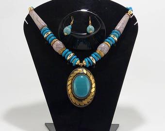 Elegantly hand crafted antique Gold Oxidized finish designer Necklace