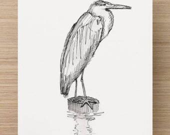 Ink sketch of Blue Heron in Canton, Baltimore, Maryland