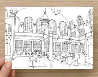 Ink Sketch of Union Station Denver, Colorado - Drawing, Art, Pen and Ink, Architecture, Interior, Train Station, History, 5x7, 8x10, Print