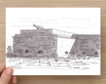 Ink Drawing of Fort Pickens Near Pensacola, Florida - Drawing, Art, Architecture, Gulf Islands, Civil War, Pen and Ink, 5x7, 8x10, Print
