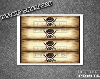 Pirate Drink Labels - Jolly Roger - Skull and Bones
