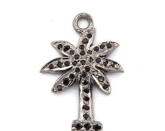 Xmas  in July 1 PC Black spinel  Tree  Charm Pendant 925 Sterling Silver -Tree  Bail Pendant 22MMX13MM Wtc068