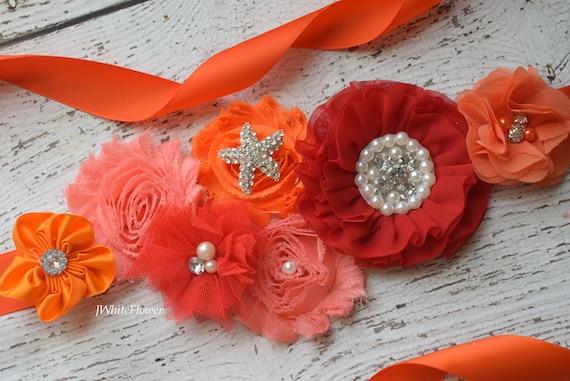Red orange coral beach Sash,#2, Christmas Sash, red  flower Belt, maternity sash, red flower belt, valentine sash