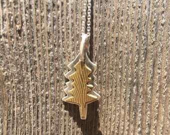 Brass and Sterling Silver Pine Tree