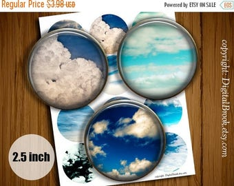 SALE 50% Sunset in the clouds 2 inch Digital Collage Sheet Printable circle images for Pocket Mirrors Magnets Labels Gift Tags - 266