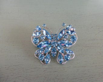 Stunning Blue Rhinestone Butterfly Pin on Silvertone Metal