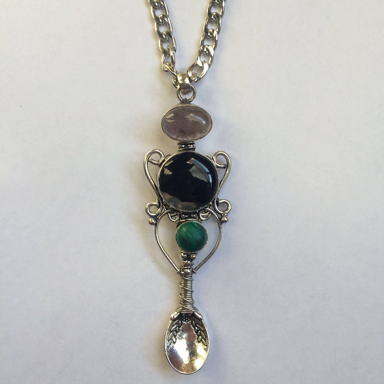 Onyx, Rose Quartz & Malachite Wire Wrapped Spoon Necklace ...