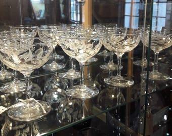 Nine Antique Edwardian Etched Fern Champagne Glasses