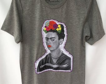 Frida Hand Painted and Hand Stitched T-shirt. Unisex Frida Colorful Tshirt. Gift Friendly