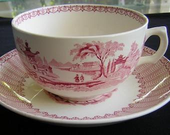 Beautiful Vintage Red Transferware JUMBO Cup & Saucer,  English, C. 1950, Teaparty, Ambassadorware,