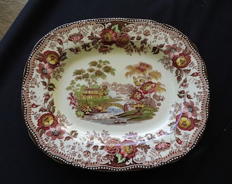 Vintage Platter  Brown Transferware TONQUIN Multi-Color Royal Staffordshire Wilkinson Clarice Cliff