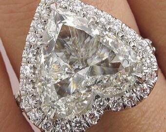 GIA 5.20ct Estate Vintage Heart Diamond Halo Engagement Wedding Platinum Ring