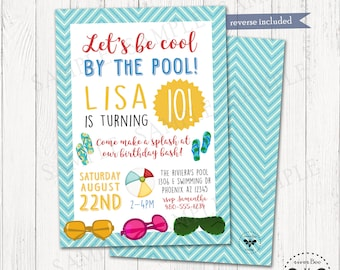Pool Party Birthday Invitation Printable, Digital Beach Party Invite, Cool by the Pool Invitation, Summer Birthday Party Invite, DIY Invite