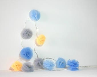 10 Led - Light string with tassels in blue, gray and yellow tulle