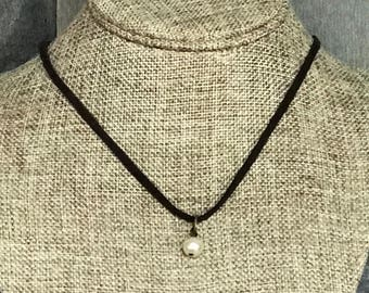 Rustic Pearl Necklace, Leather Necklace, Laser Engraved, Customized Jewelry, Bursting Barns Designs