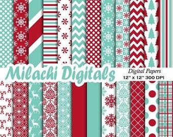 60% OFF SALE Winter digital paper, christmas scrapbook papers, snowflake wallpaper, christmas tree background - M568