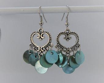 Heart Chandelier Earrings with Turquoise Shells
