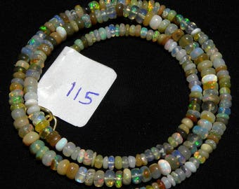 """Natural Ethiopian Welo Opal Smooth beads 3-4 M.M. 18.5"""" Necklace, fire opal smooth beads necklace, welo opal smooth roundel necklace N115"""